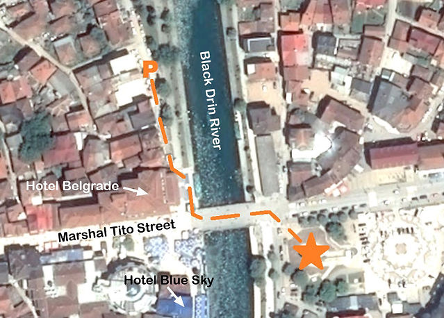 A map to the location of the monument at the spomenik complex in Struga, Macedonia.