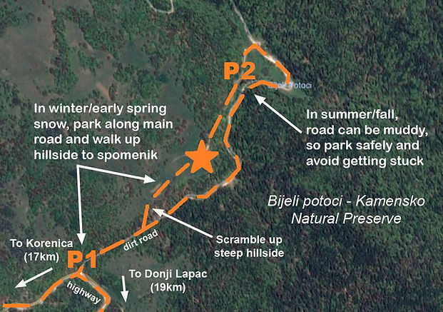 Map to the location of the monument at the spomenik complex at Korenica, Croatia.