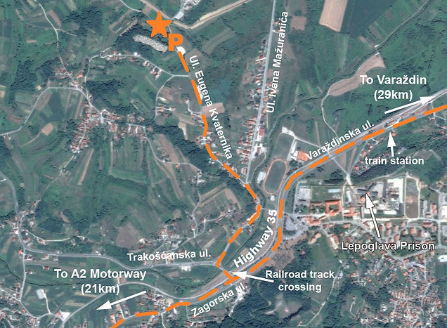 Map to Lepoglav spomen groblje and spomenik compex