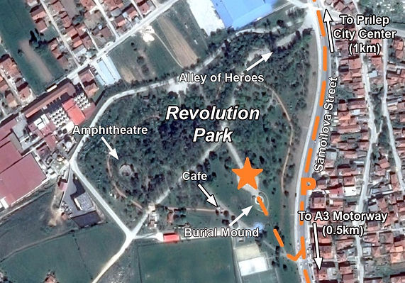A map to the location of the monument at the Prilep spomenik complex.