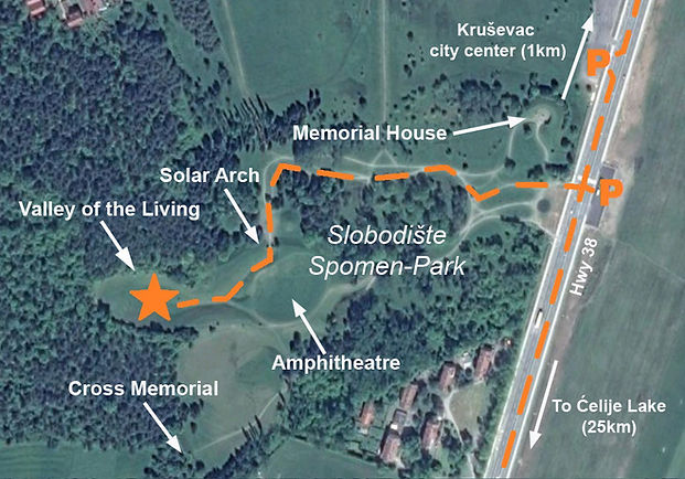 A map to the location of the monument at the Krusavec spomenik complex.