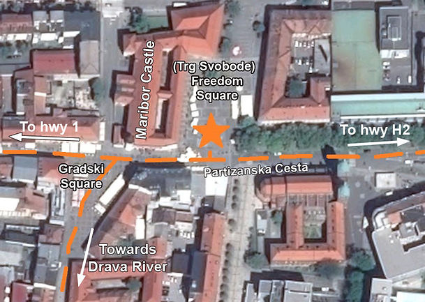 A map to the location of the monument at the spomenik complex in Maribor, Slovenia.