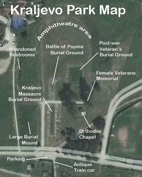 A map of the Kraljevo spomenik (spomen-park) for WWII in Serbia.