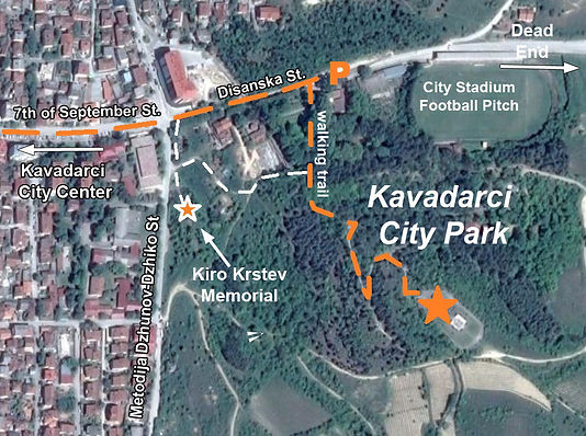 Map to the location of the spomenik complex at Kavadarci, Macedonia.