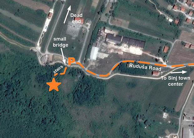Map to the Sinj spomenik complex at Rudusa.