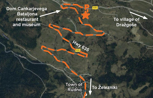 Map to the location of the monument at the spomenik complex at Dragozse, Slovenia.