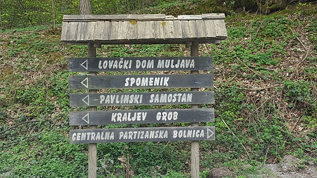 These are signs that lead to the spomenik along the road to Petrova Gora, Croatia.