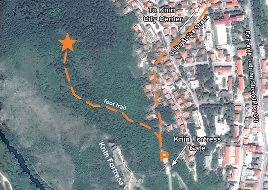 A map to the location of the monument at the spomenik complex in Knin, Croatia.