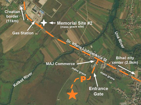 A map to the location of the monument at the spomenik complex at Bihać, Bosnia.