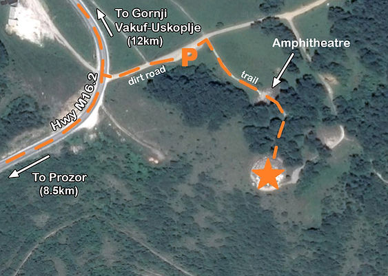 A map to the location of the monument at the Makljen spomenik complex in Bosnia.