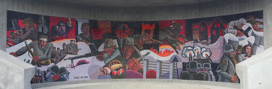 A view of the mosaic by Ive Subic at the WWII spomenik complex in Drazgose, Slovenia.