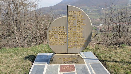 Memorial commemorating fighters killed by fascist Italian forces at the spomenik park in Andrijevica, Montenegro.