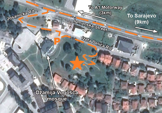 This is a map of the location of the monument at the spomenik complex at Vogosca, Bosnia.