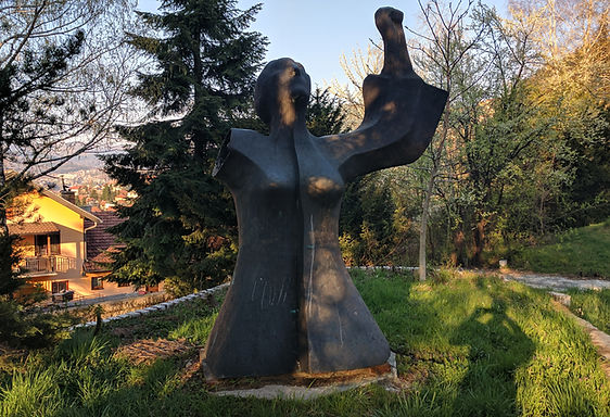 A photo of the memorial to women veterans at the Vraca Spomenik Park in Sarajevo, Bosnia.