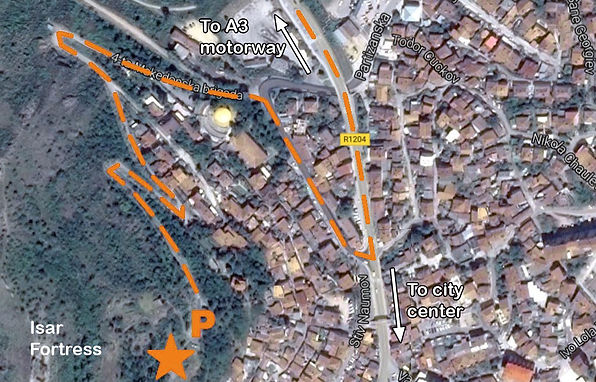 Map to the location of the monument s at the spomenk complex in Stip, Macedonia.