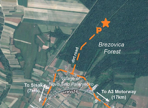 Map of the location of the monument at the spomenik complex near Sisak, Croatia.