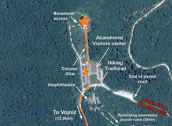 This is a map to the spomenik complex monument at Petrova Gora, Croatia.