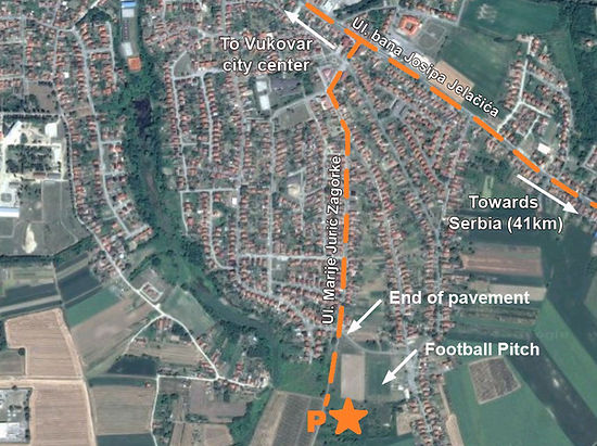 A map to the location of the monument at the spomenik complex in Vukovar, Croatia.