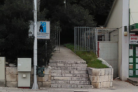 West entrance to the monument at the spomenik complex at Makarska, Croatia.