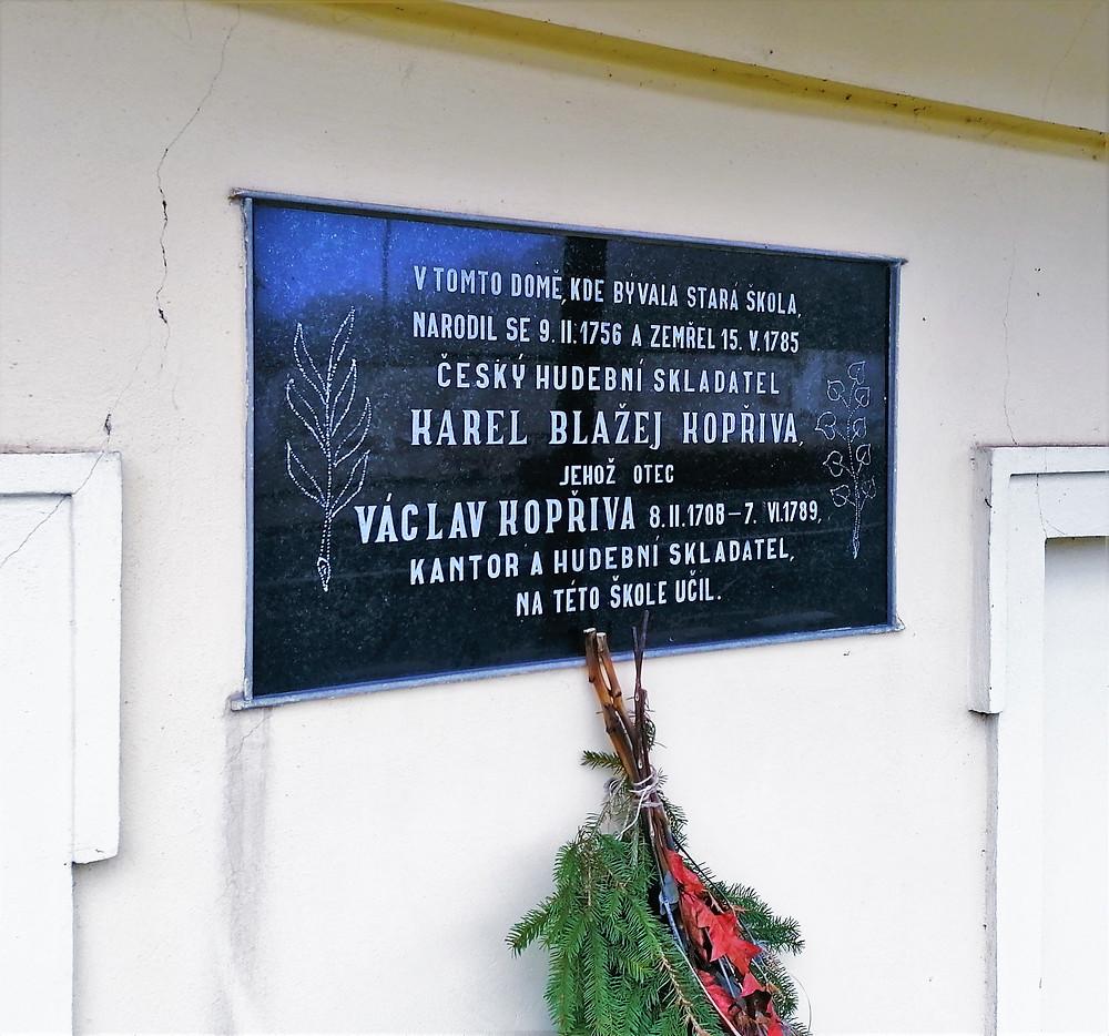 Pamětní deska otce a syna Kopřivových v Cítolibech