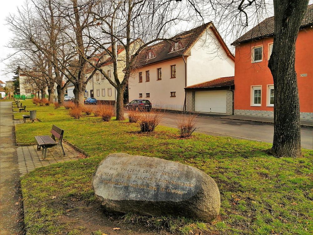 Pamětní kámen U modřanské školy a stromořadí studentů
