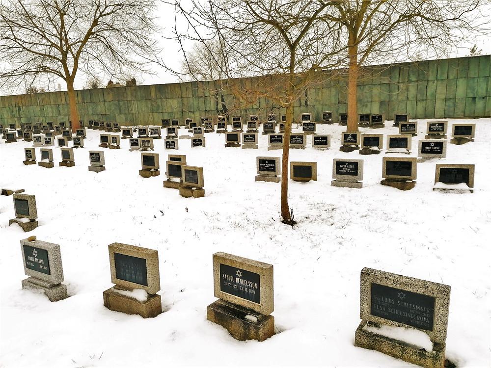 Na židovském hřbitově v Terezíně se nachází 1250 jednotlivých a 217  hromadných hrobů