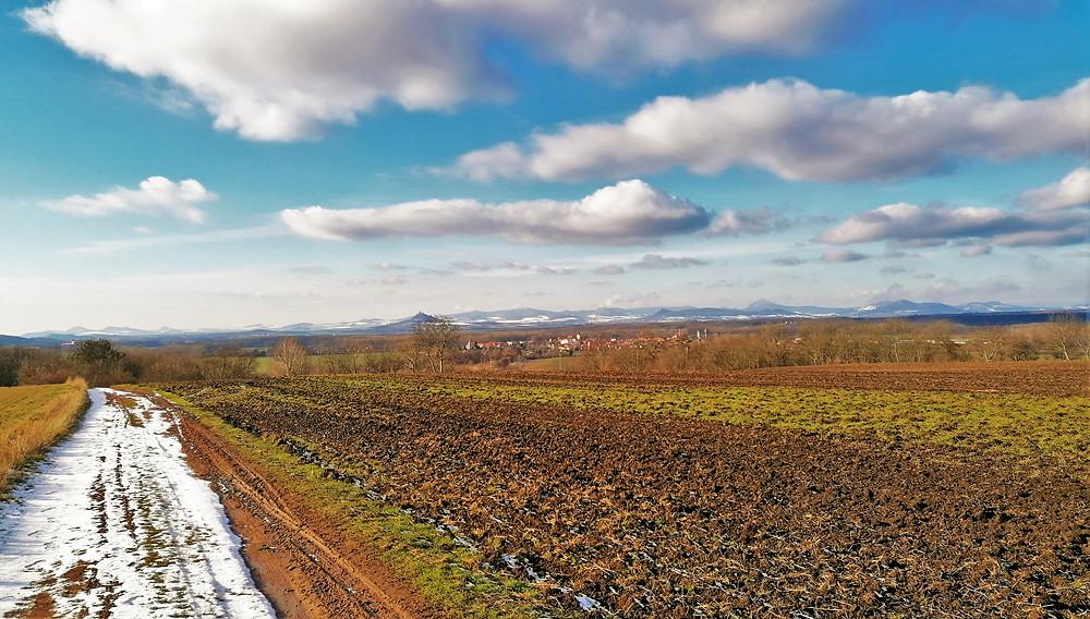 Pohled na Hazmburk od Přírodní památky Vrbka