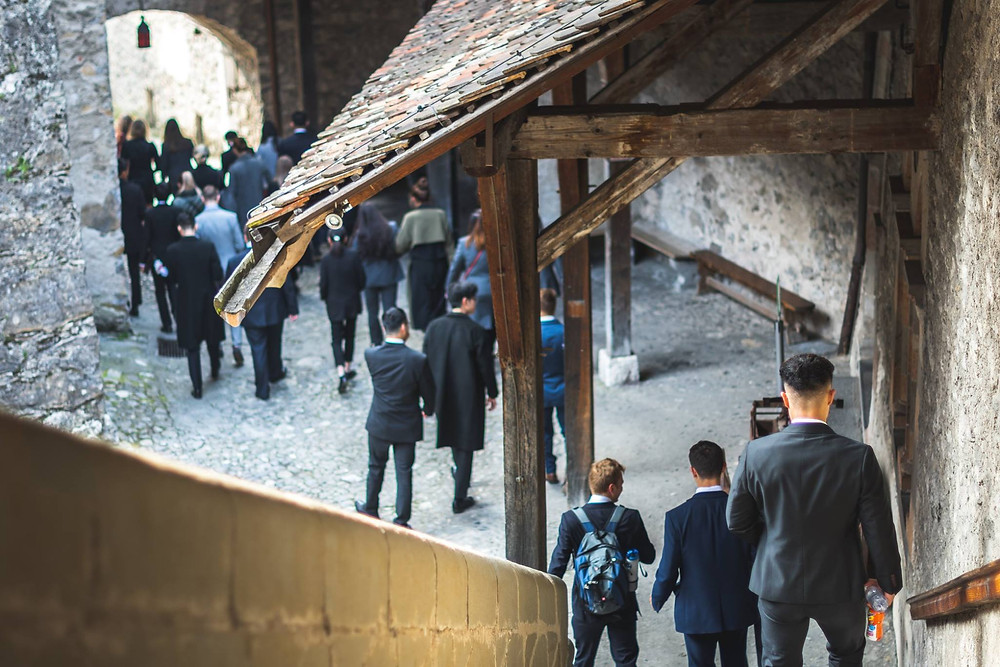 Hotel Institute Montreux students visiting Chateau Chillon for their hospitality and sales marketing