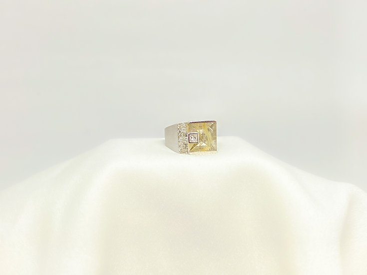 Anel Cristal Rutilado - Ouro Branco