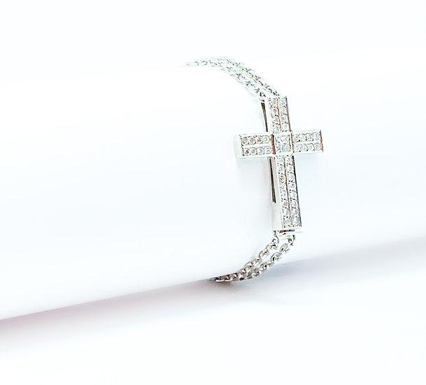 Pulseira Crucifixo - Ouro Branco