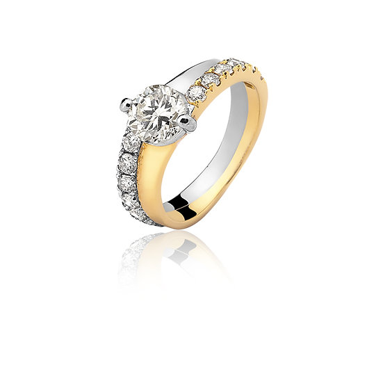 Anel Noivado - Ouro Amarelo e Branco