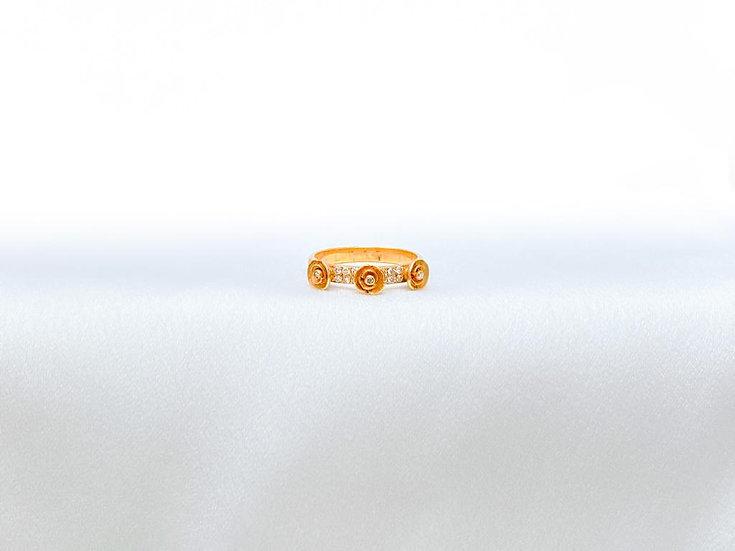 Anel 3 Flores - Ouro Amarelo