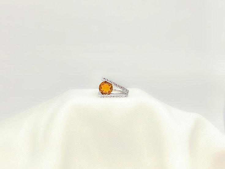 Anel Citrino - Ouro Branco
