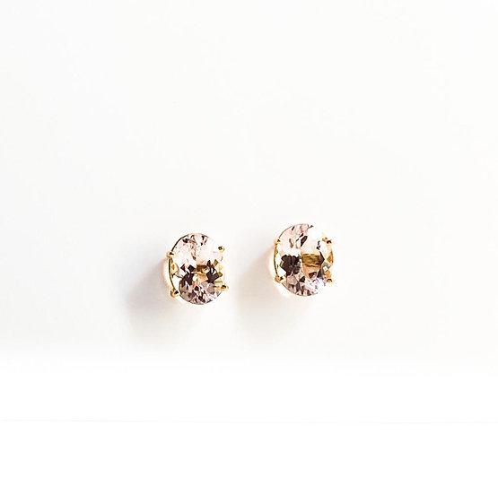 Brinco Oval Morganita - Ouro Rose