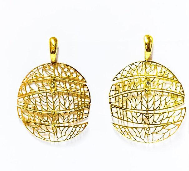 Brinco Círculo Origami  - Ouro Amarelo