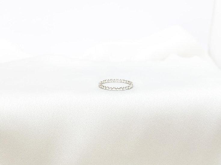 Anel Mini Estrelas - Ouro Branco