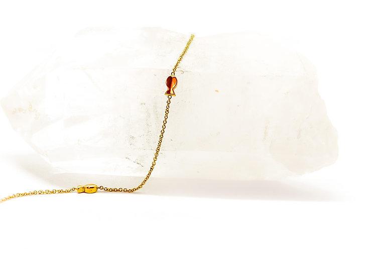 Tornozeleira Peixinhos - Ouro Amarelo