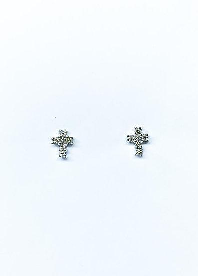 Brinco Crucifixo - Ouro Branco