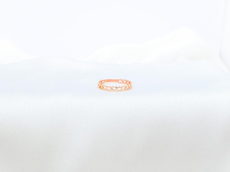 Anel Corações Vazados - Ouro Rose