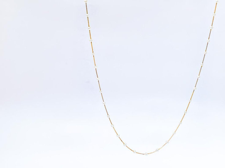 Colar Micro Pérolas 125cm - Ouro Amarelo