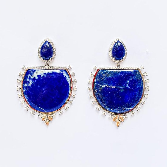 Brinco Lápis Lazuli - Prata