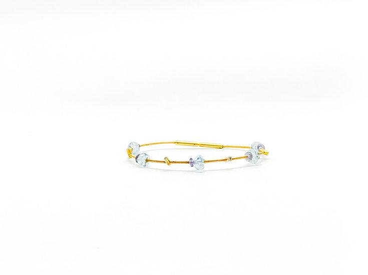 Pulseira Água Marinha - Ouro Amarelo