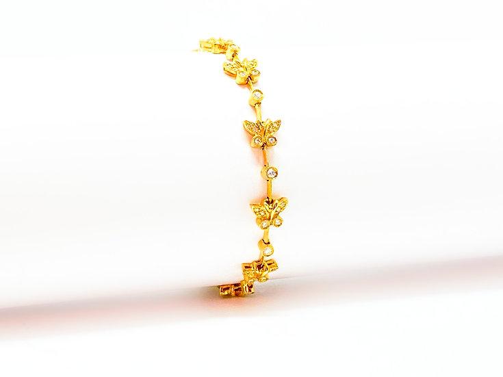Pulseira Borboletas - Ouro Amarelo