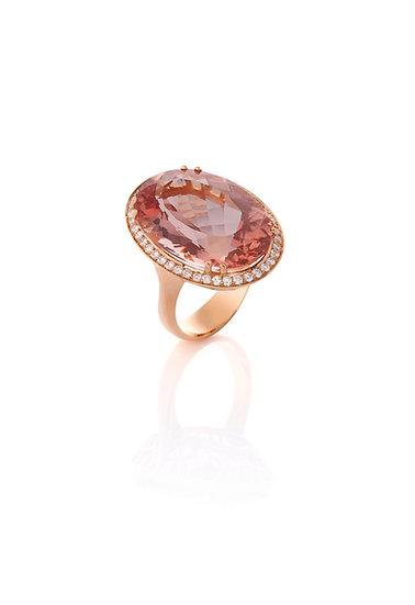 Anel Morganita Oval - Ouro Rose
