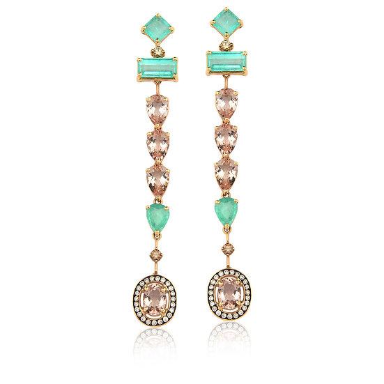 Brinco Morganitas e Esmeraldas - Ouro Rose 12,9g