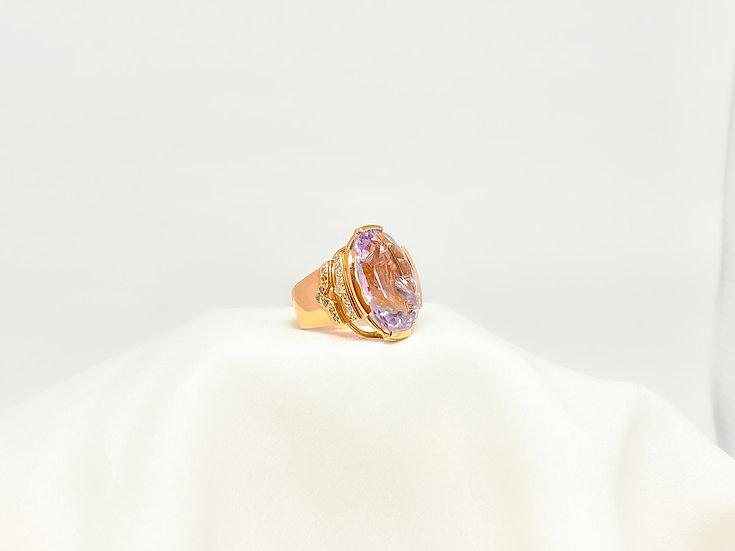 Anel Quartzo Rosa - Ouro Rose