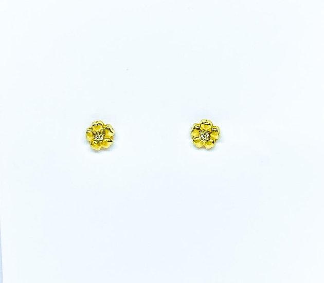 Brinco Flor - Ouro Amarelo