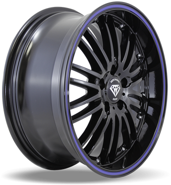 W820 White Diamond Wheel (Black/Blue Line)