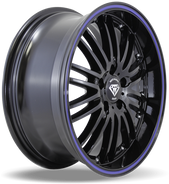 W820 White Diamond Wheel (Black/Blue Line)