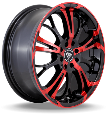 W667 White Diamond Wheel (Black/Red Face)